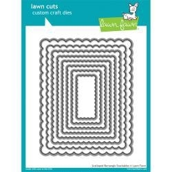 LF997 Lawn Cuts Custom Craft Die Scalloped Rectangle Stackables