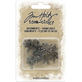 TH94007 Idea-Ology Metal Adornments  Antique Nickel Snowflakes 9/Pkg