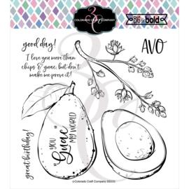 "C3BB335 Colorado Craft Company Clear Stamps Avocado Love-Big & Bold 6""X6"""