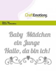 115633/0421 CraftEmotions Die Text - Baby Hallo, da bin ich! (DE) Card 11x9cm