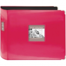 "063224 Sewn Leatherette 3-Ring Binder 12""X12"" Bright Pink"
