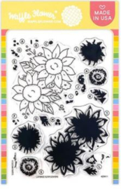"642422 Waffle Flower Crafts Clear Stamp 5""X7"" Layered Sunflowers"