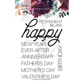"""624366 Colorado Craft Company Clear Stamps Happy Occasions-Savvy Sentiments 4""""X6"""""""