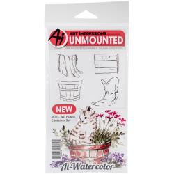 484487 Art Impressions Watercolor Cling Rubber Stamps Rustic Container
