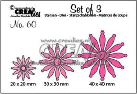 115634/0660 Crealies Set of 3 no. 60 dichte Bloemen 25 CLSet60 20 mm - 30 mm - 40 mm