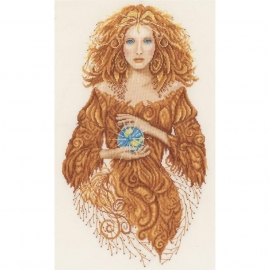 519328 LanArte Mother Earth On Fabric Counted Cross Stitch Kit