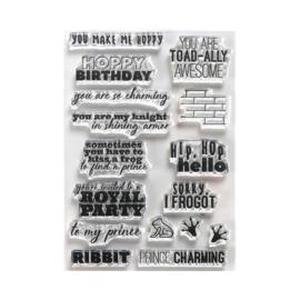 CS185 Elizabeth Crafts Clear Stamps Prince & Frog Sentiments