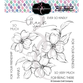 "647541 Colorado Craft Company Clear Stamps Thank You Dogwood-Big & Bold 6""X6"""