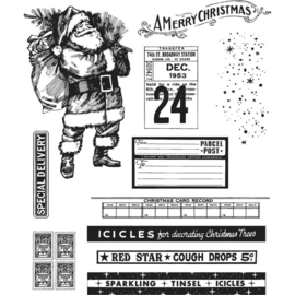 "CMS-LG 423 Tim Holtz Cling Stamps  Vintage Holidays 7""X8.5"""
