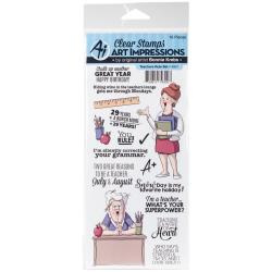 484509 Art Impressions Work & Play Clear Stamp Set Teachers Rule