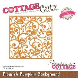 "444056 CottageCutz Elites Die Flourish Pumpkin Background, 3.5""X3.5"""