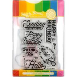 585753 Waffle Flower Stamp & Die Set Bold Sentiments
