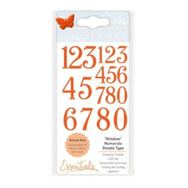 1689E Tonic Studios Die Ess. Windsor Simple Type Numerals