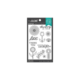 "654819 Hero Arts Clear Stamps Line Art Flowers 4""X6"""