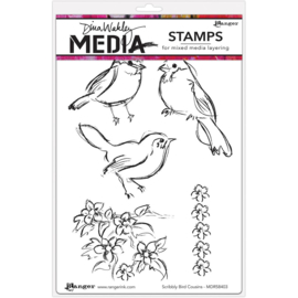 "200926 Dina Wakley Media Cling Stamps Sribbly Bird Cousins  6""X9"""
