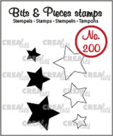 130505/0200 Crealies Clearstamp Bits&Pieces Sterretjes (dicht en omlijning)
