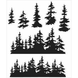 CMS-244 Tim Holtz Cling Rubber Stamp Set Tree Line