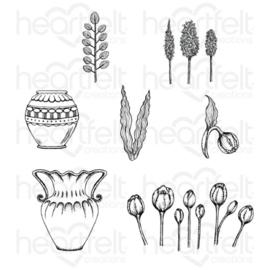 "569075 Heartfelt Creations Cling Rubber Stamp Set Tulip Vase & Fillers 5""X6.5"""