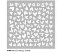 ST-116 My Favorite Things Lots of Heart 6x6 Inch Stencil