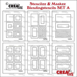 CLSTMBLSETA  Crealies Stencilzz/Maskzz 6x Rechthoek glad en ruwe randen