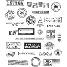 "CMS -LG 323 Tim Holtz Cling Stamps Holiday Postmarks 7""X8.5"""