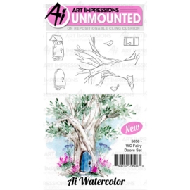 571586 Art Impressions Watercolor Cling Rubber Stamps Fairy Doors