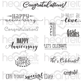 "554388 Heartfelt Creations Cling Rubber Stamp Set Celebrate Love Sentiments 5""X6.5"