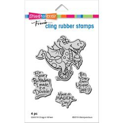560378 Stampendous Cling Stamp Dragon Wheel