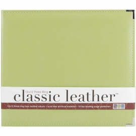 "517025 We R Classic Leather 3-Ring Album Kiwi 12""X12"""