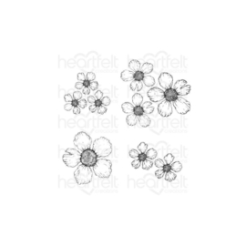 HCPC3906 Heartfelt Creations Cling Rubber Stamp Set Wild Rose -Small Rose