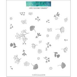 "341711 Concord & 9th Clear Stamps Lovely Blossoms Turnabout 6""X6"""