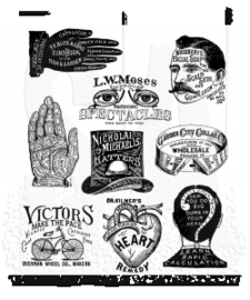 "CMS 372 Tim Holtz Cling Stamps Eclectic Adverts 7""X8.5"""