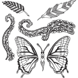 """205488 Dyan Reaveley's Dylusions Cling Stamp Collections Flight Of Fancy 8.5""""X7"""""""