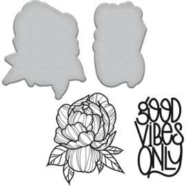 SDS096 Spellbinders Stamp & Die Set Good Vibes-Peony By Stephanie Low