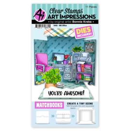 663836 Art Impressions Matchbooks Stamp & Die Set Office