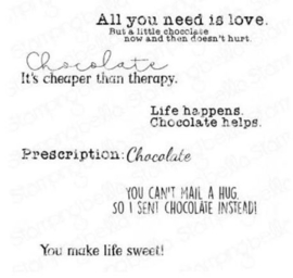 EB939 Stamping Bella Cling Stamps Chocolate Sentiment Set