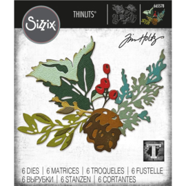 665578 Sizzix Thinlits Dies Holiday Brushstroke #2 By Tim Holtz 6/Pkg