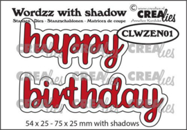 CLWZEN01 Crealies Wordzz with Shadow Happy Birthday