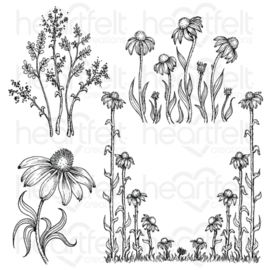 034294 HCPC3828 Heartfelt Creations Cling Rubber Stamp  Set Garden's Edge Coneflower