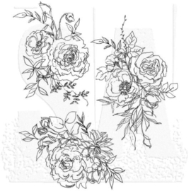 """CMS 430 Tim Holtz Cling Stamps Floral Outlines  7""""X8.5"""""""