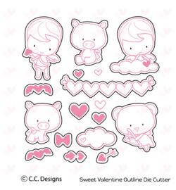 OD25 C.C.Designs Matching Stamp dies Sweet Valentine