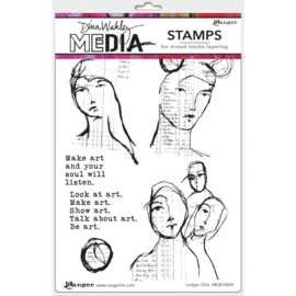 "MDR 74809 Dina Wakley Media Cling Stamps Ledger Girls 6""X9"""