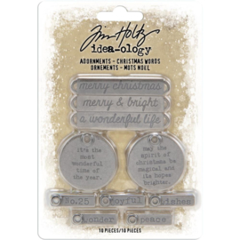TH93991 Idea-Ology Metal Adornments Antique Nickel Christmas Words 10/Pkg
