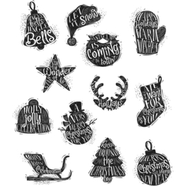 CMS 316 Tim Holtz Cling Stamps Mini Carved Christmas