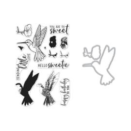 649304 Hero Arts Clear Stamp & Die Combo Color Layering Hummingbird
