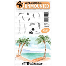 571631 Art Impressions Watercolor Cling Rubber Stamps Palm Tree