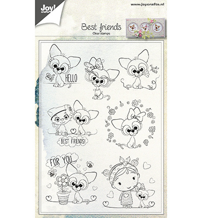6410/0500 Joy!Crafts Clear stamp Dierenvriendjes