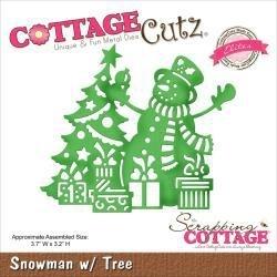 """506480 CottageCutz Elites Die Snowman W/Tree 3.7""""X3.2"""""""
