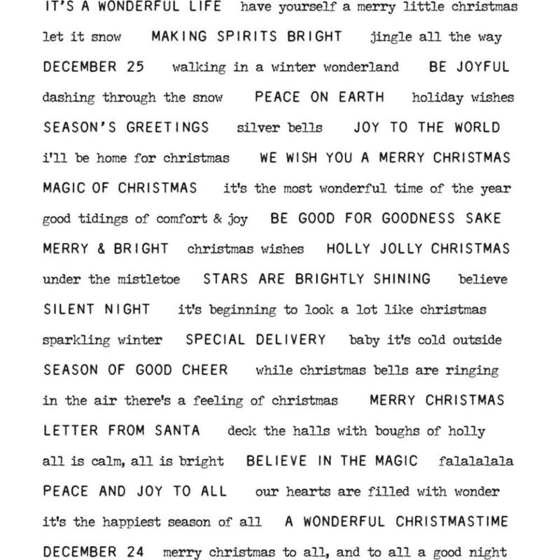"CMS-LG 424 Tim Holtz Cling Stamps Tiny Text Christmas 7""X8.5"""