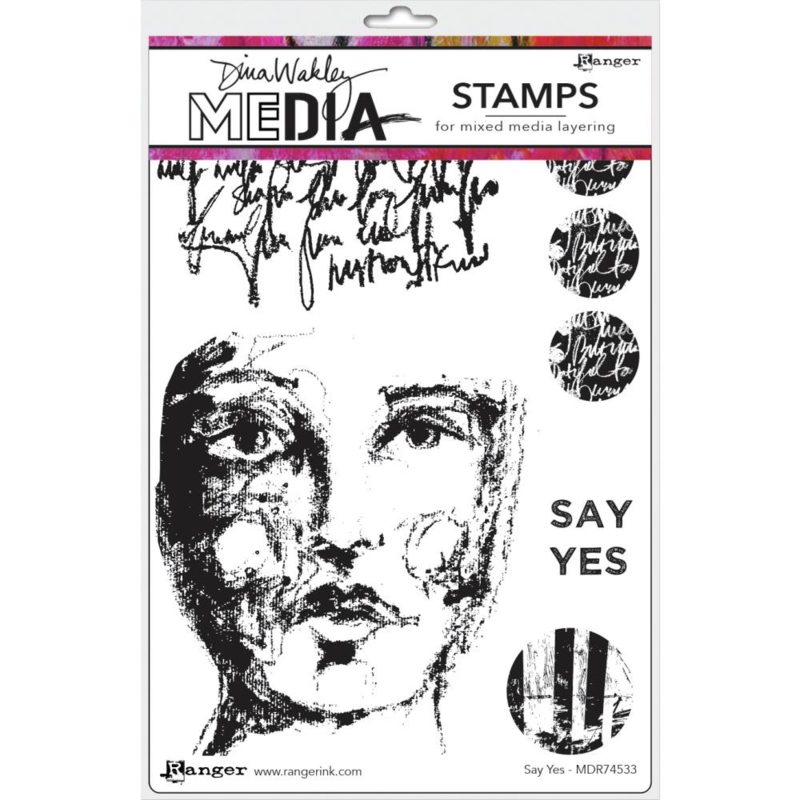 """638849 Dina Wakley Media Cling Stamps Say Yes 6""""X9"""""""